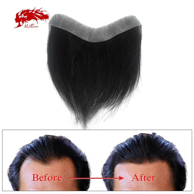 Мужской парик Ali Queen из 0,12-0,14 мм, тонкая кожа, ПУ основа, 100% индийские человеческие волосы без повреждений, мужской парик с V-образной петлей, п...