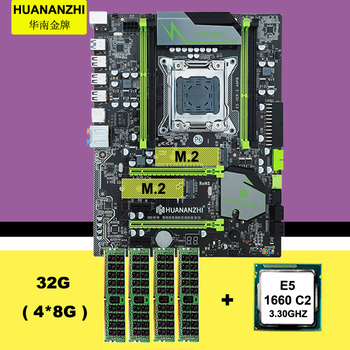 HUANANZHI X79 motherboard bundle discount X79 motherboard with dual M.2 slot CPU Intel Xeon E5 1660 3.3GHz RAM 32G(4*8G) REG ECC 1