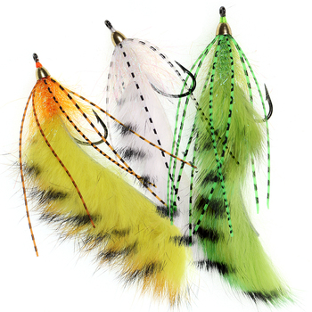 3pcs #1/0 Sea Bass Pike Salmon Fishing Lure Brass Conehead Zonker Streamer Flies Variation Orange White Yellow image