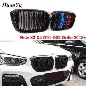 1 คู่ G01 G02 กระจังหน้าสำหรับ BMW X3 X4 ใหม่ 2018 2019 + ด้านหน้ากันชน Kidney Grills 2- slat M สี xDrive20i xDrive30i
