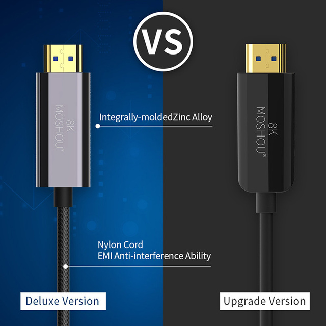 MOSHOU Optical Fiber HDMI 2.1 Cable Ultra-HD (UHD) 8K Cable 120Hz 48Gbs with Audio Video HDMI Cord HDR 4:4:4 Lossless amplifier