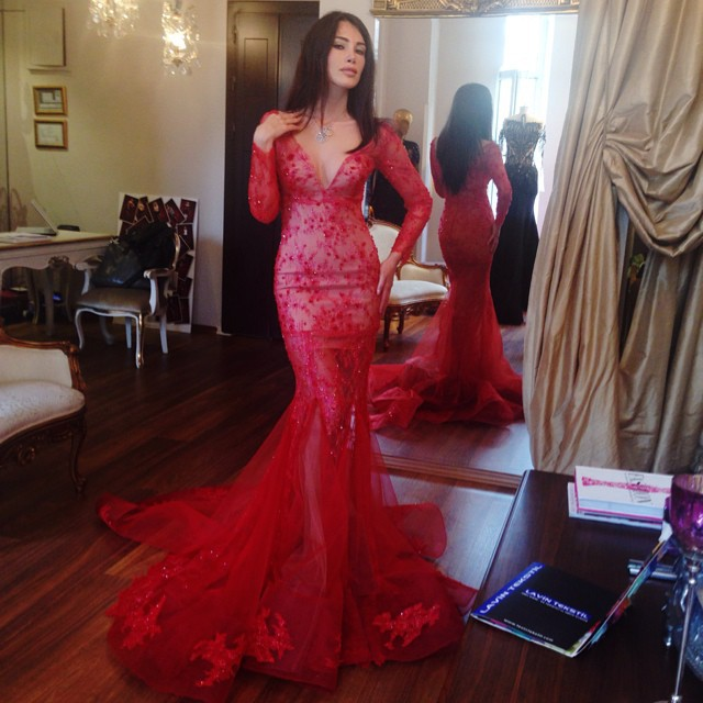 Vestido De Festa Vestidos Longo Red Lace Mermaid Sexy Long Evening Gown Custom Party Gown 2018 Mother Of The Bride Dresses