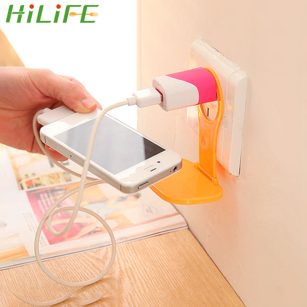 HILIFE Phone Holder Universal Foldable Charger Cable Storage Mobile Phone Wall Plug Socket For Charger Charging Rack Hang Holder