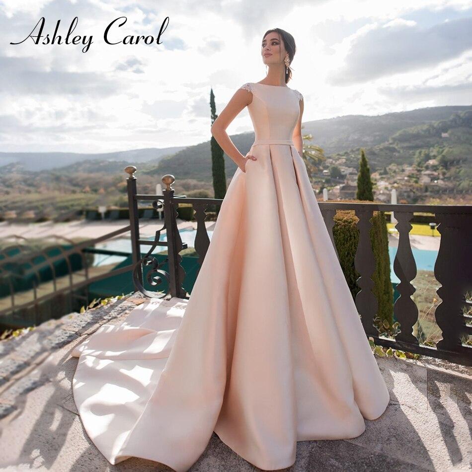 Ashley Carol Fashion Scoop Short Wedding Dress 2019 Vintage Soft Satin Bridal Dress Appliques A-Line Princess Wedding Gowns