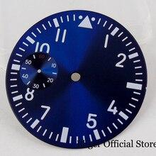 цена Blue 38.9MM Nologo Watch Dial + Watch Hand Fit 6497 Hand Winding Movement онлайн в 2017 году