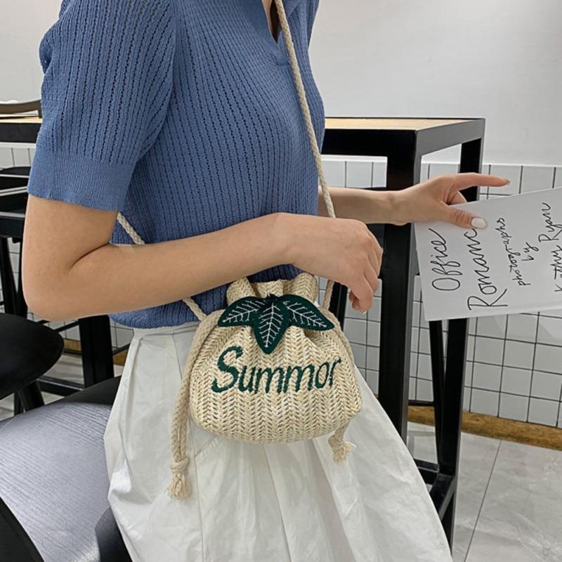2019 Fashion Women\'s Woven Drawstring Bag Drawstring String Straw Weave Messenger Bag English Embroidered Word Shoulder Bag