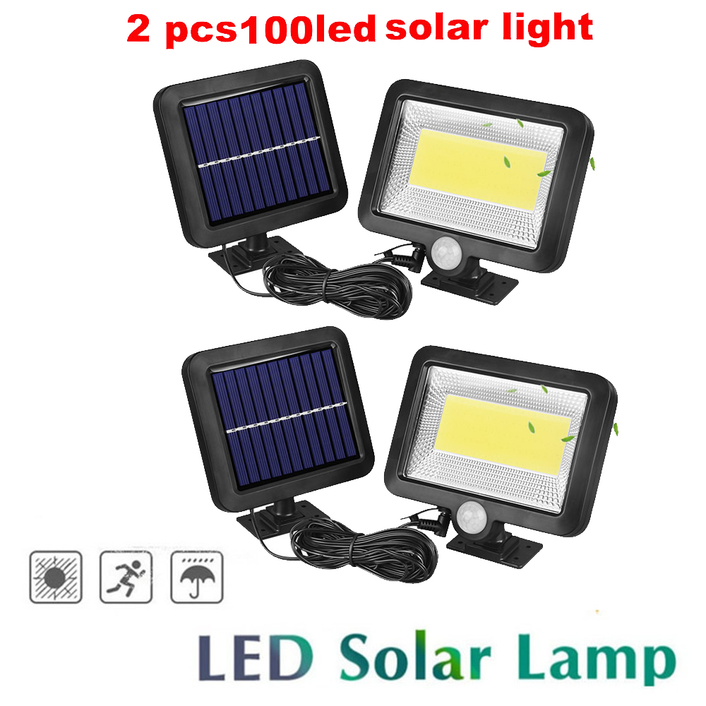 2/4pcs Upgraded 100/56/30 Leds LED Solar Power Street Light PIR Motion Sensor Lamps With Controller Waterproof Outdoor Lamp Spli