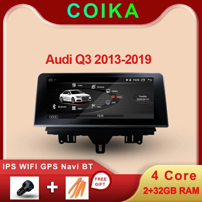 Система COIKA Android 10 Автомобильный мультимедийный экран для Audi Q3 2013-2018 GPS Navi Стерео 2 + 32 Гб RAM WIFI BT AUX IPS Touch Google