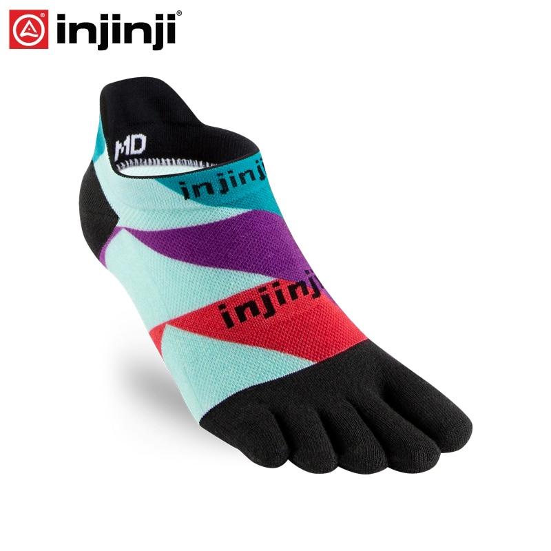 Injinji Run Lightweight No-Show Five Finger Running Toe Socks Black