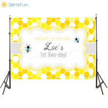 Sensfun Cartoon Bee Happy Birthday Backdrops Custom Vinyl Baby Show Photography Backgrounds For Photo Studio fond photographie sea beach photography background vinyl backdrops for photography children backgrounds for photo studio fond photographie