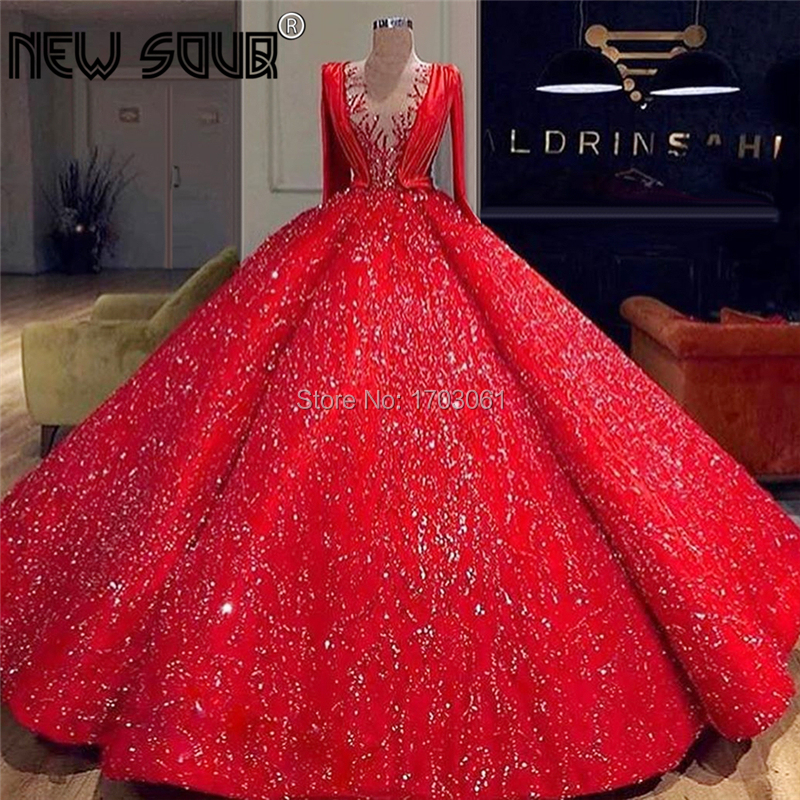 Amazing Dubai Red Puffy Evening Dresses Beading Sequins Style Evening Gowns 2020 Robe De Soiree Turkish Prom Party Dress KaftansEvening Dresses   -