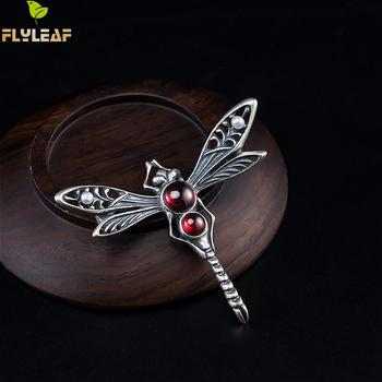 цена Retro Real 925 Sterling Silver Garnet Dragonfly Pearl Brooch For Women Thai Silver Handmade Vintage Jewelry Flyleaf онлайн в 2017 году