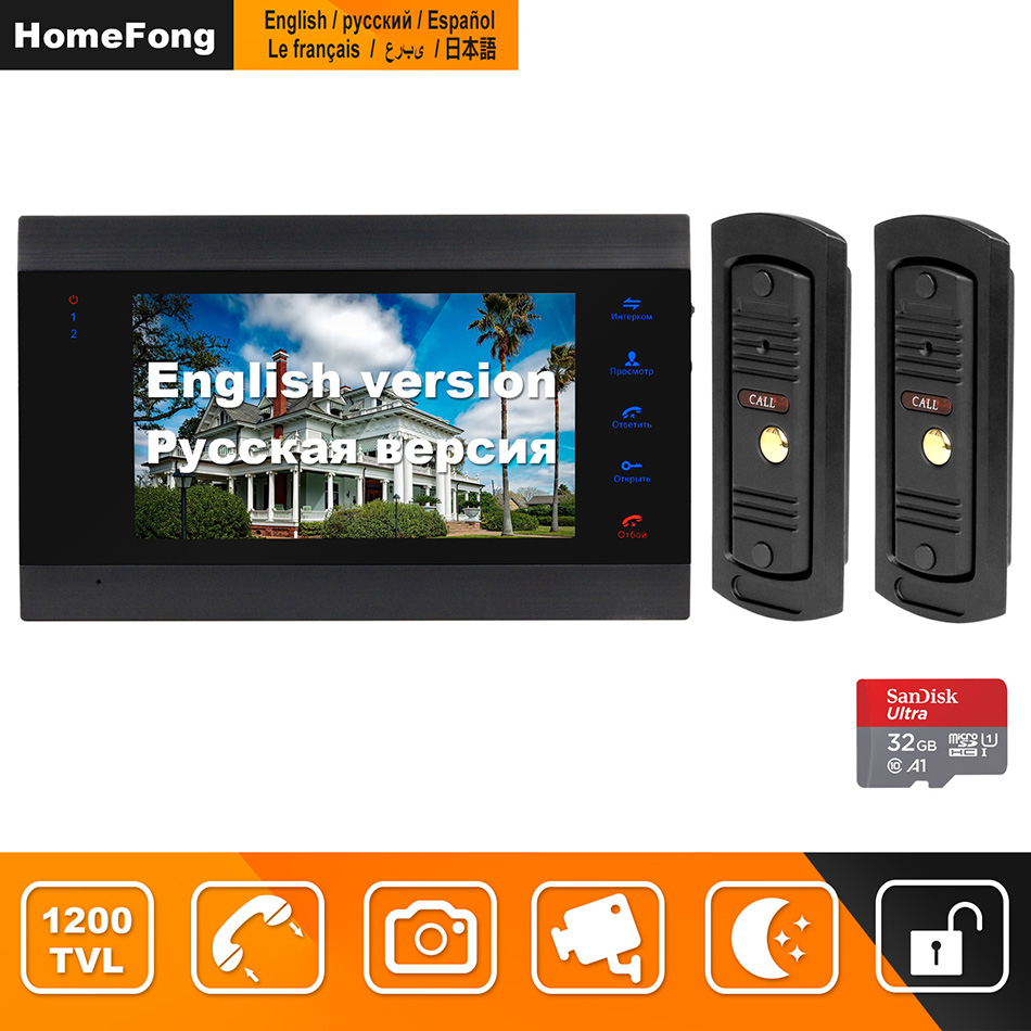 HomeFong Video Door Phone 7 Inch With 2 Doorbell 1200TVL Support Electronic Lock Motion Detect Recording Video Intercom For Home