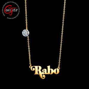 Goxijite Personalized Name Pendant Necklace For Women Stainless Steel Customized CZ Stones Nameplate Necklaces Jewelry Gift