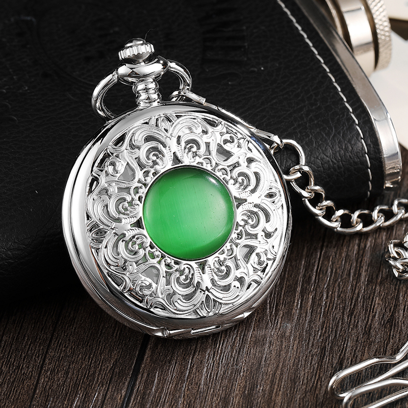 Antique Emerald Mechanical Pocket Watch Men Vintage Steampunk Fob Clock Male Necklace With Chain For Boy Girls Gift