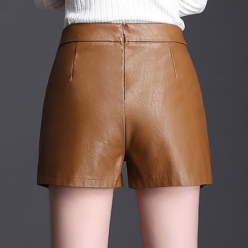 Winter Autumn Fashion Women Female Wide Leg High Waist Black Brown Pu Leather Shorts Casual Women Plus Size 4XL Short Streetwear