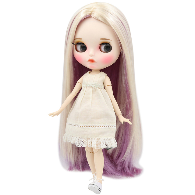 Blyth nude doll white skin Elegant mixed color straight hair 1/6 JOINT body new matte face with eyebrows Lip gloss ICY DIY toy