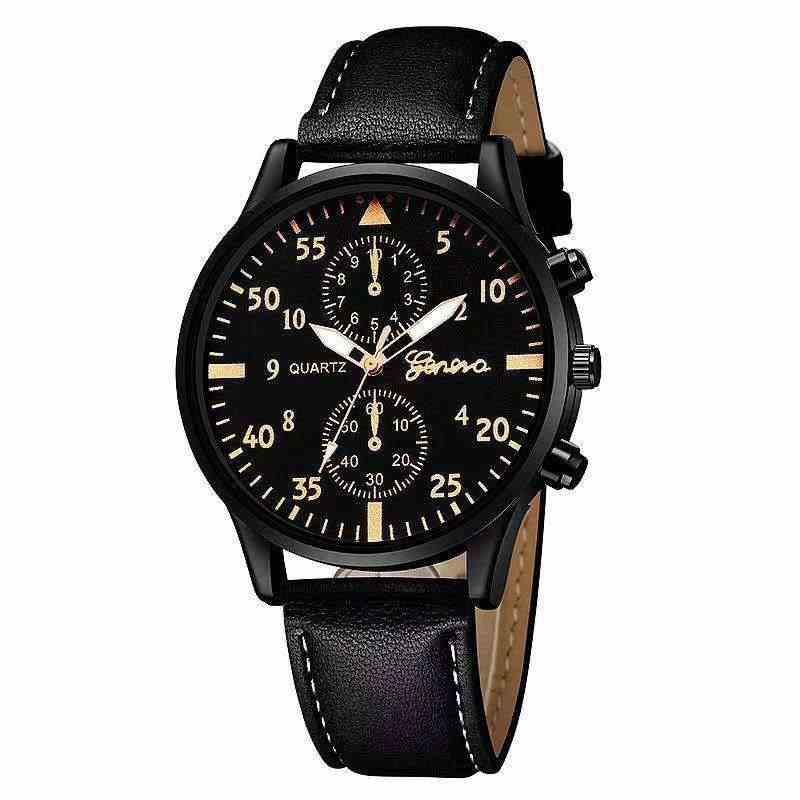 Fashion Pria Jam Tangan Kasual Pu Kulit Band Olahraga Watch Kuarsa Wrist Watch Clock Pria Jam Pria Warna C087