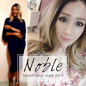 Image 2 - Noble 合成かつら黒人女性のための流行のレースフロントかつら人工毛 20 インチ人工毛レースフロントかつら