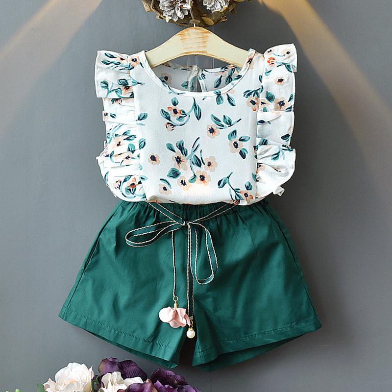 Ropa con estampado Floral para niñas, conjunto de 2 piezas con top y pantalón corto, para verano