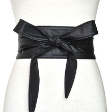 купить Fashion Pu Leather Obi Corset Belts for Ladies Black Yellow Red Wide High Waistband Bowknot Women Dress Waist Belt Cummerbunds дешево