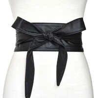 Mode Pu cuir Obi Corset ceintures pour dames noir jaune rouge large taille haute Bowknot femmes robe taille ceinture Cummerbunds