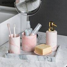 Легкий роскошный керамический набор для умывания ванной мраморный узор для ванной домашний отель кружка декоративное мыло бутылка Туалетный Набор ершиков для туалета