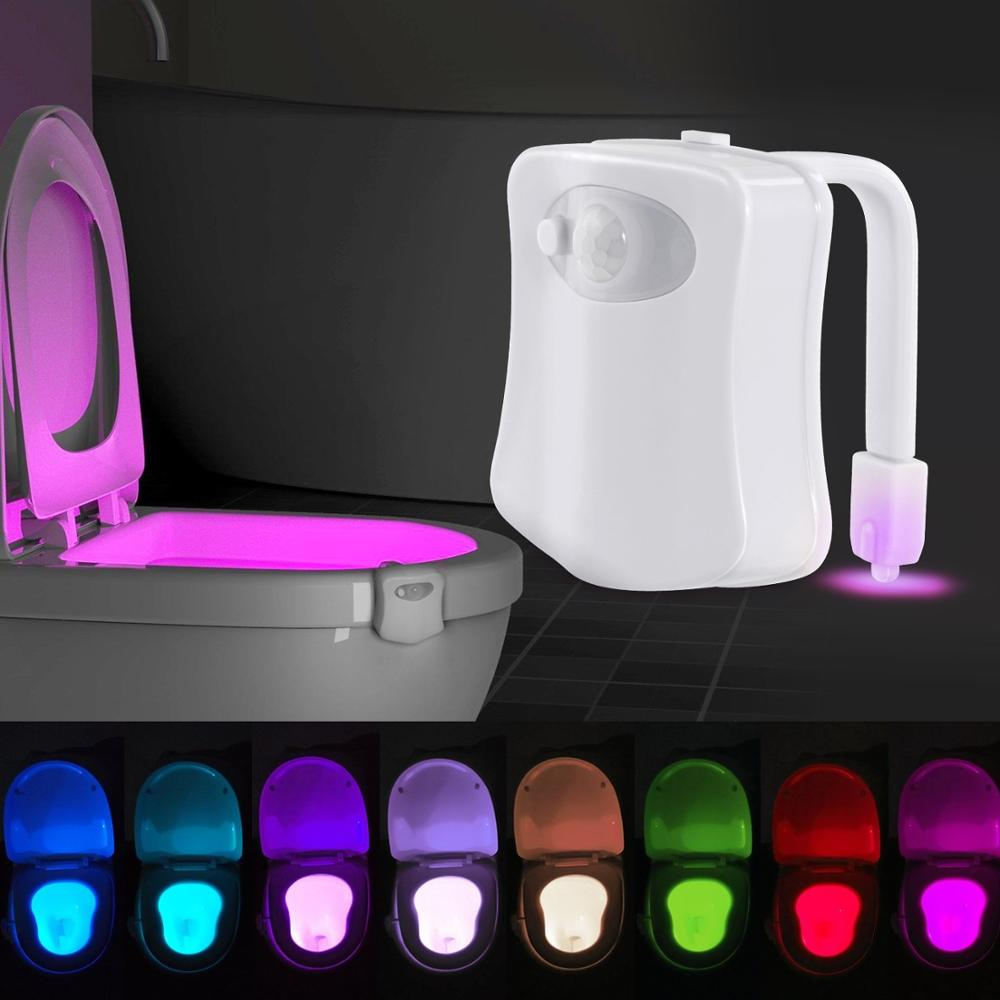 Motion Sensor Toilet Light LED Lamp Human Motion Activated Lamp PIR 8 Colors Automatic RGB Night Lighting