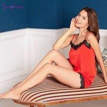 Suphis 5 Colors Women Pajamas Set Lace Satin Elegant Summer Sleepwear Top Shorts Pijama Sexy Silk Re