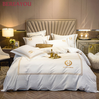 Nordic Bedding Sets Soft Duvet Cover Bed Linen Set Queen King size Bed Sheet Luxury Satin Bed Set Long Staple Cotton For Hotel