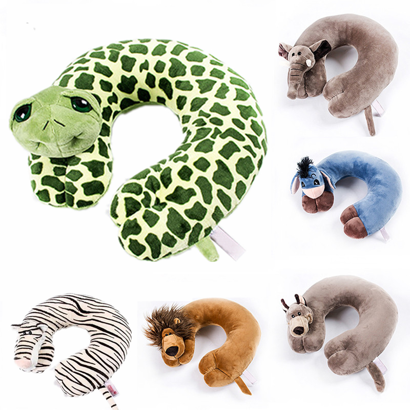 cartoon u shape animal neck travel pillow cute funny home airplane cushion pillows for travelling office car sleeping