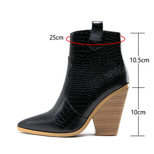Image 3 - Brand design Ankle Boots Women Pu Leather Wedges High Heels Western Boots Pointed Toe Zipper Fashion Autumn Winter Womens Shoes