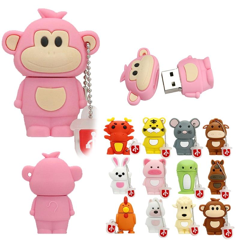 USB Chinese Zodiac Signs Memory Stick 32 64 128 4 8 16 256 Gb Pendrive Usb2.0 256GB USB Monkey/Pig/Rabbit Flash Drive Mini Gift