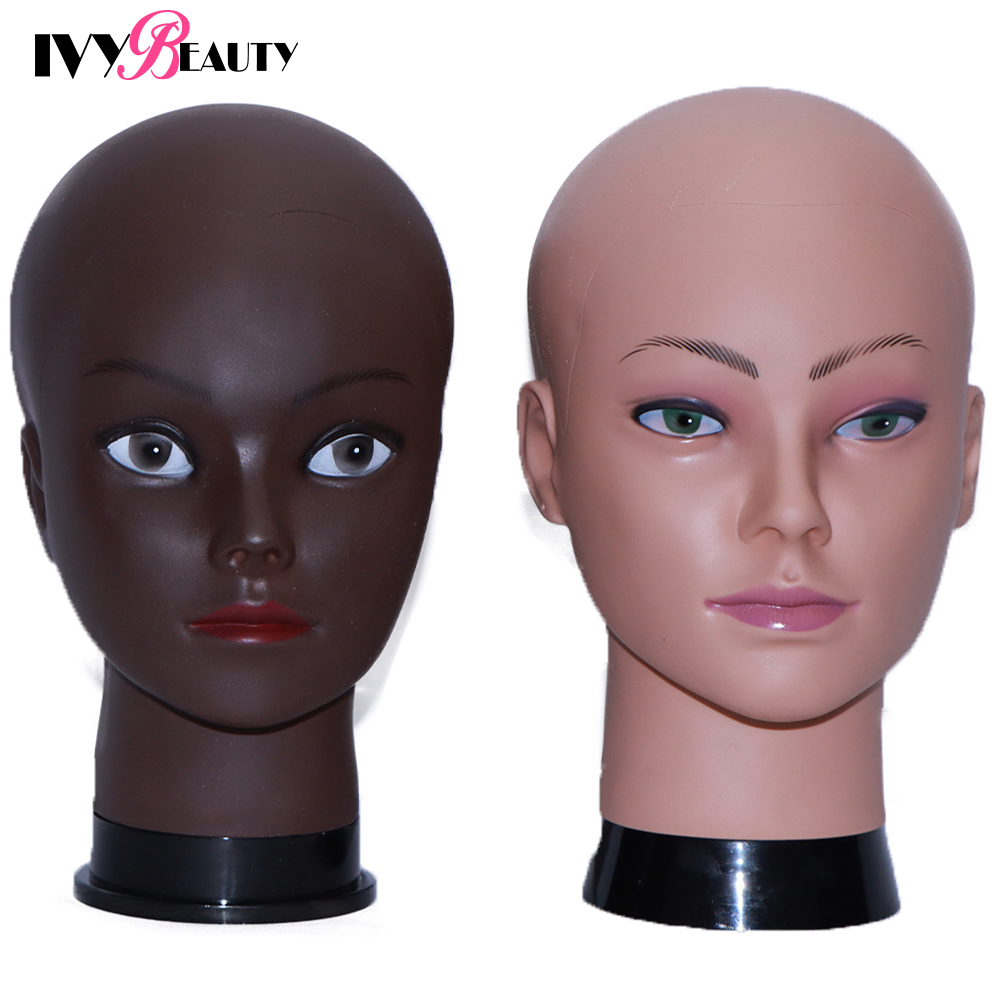 African Bald Mannequin Head With Stand For Wig Making Hat Display Cosmetology Female Manikin Doll Head Training Hair Stylin Head