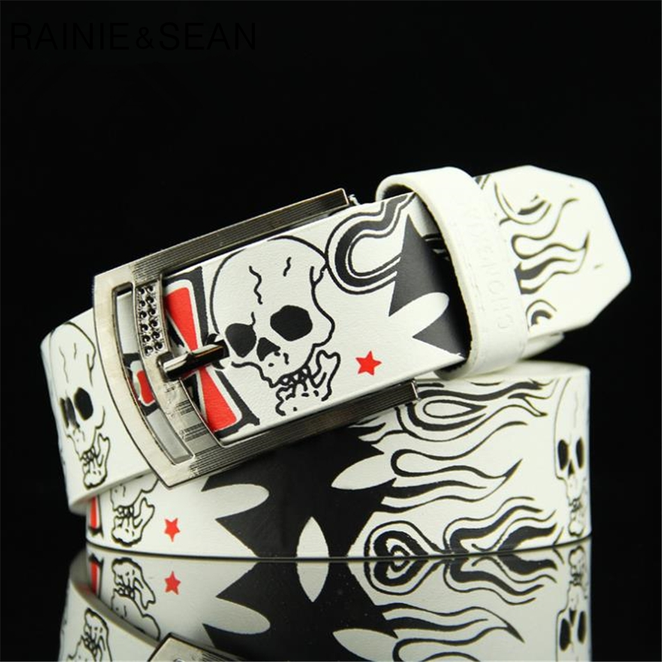 RAINIE SEAN Men Leather   Belt   White Skull   Belt   Buckles For Men Punk Casual Pu Leather   Belts   For Jeans 110cm Male Pant Accessories