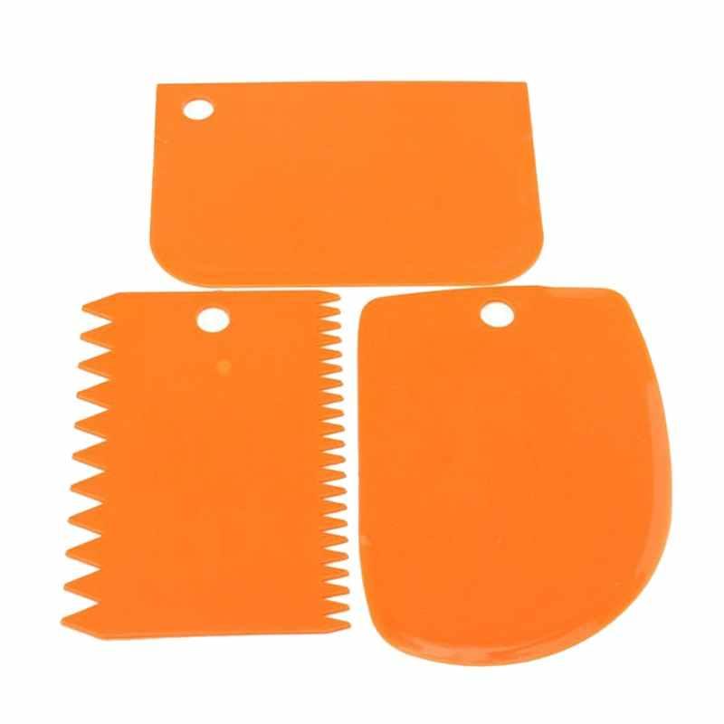 Urijk 3 ピース/セットプラスチックケーキスクレーパーセット多機能ブレードフォンダンケーキデコレーションツールペストバターへら