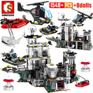 SEMBO Military Helicopter Ship Building Blocks City Police Sation Robbed Prison Car Swat Figures Bricks Toy for Boys(China)