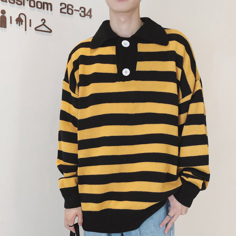 Striped Sweater Men's Warm Fashion Contrast Casual Lapel Knit Pullover Man Sweter Wild Loose Long Sleeve Sweater Male Clothes