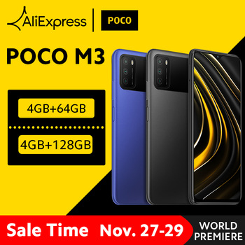 "[World Premiere In Stock] Global Version POCO M3 Smartphone Snapdragon 662 4GB 64GB 6.53"" display 6000mAh battery 48MP Camera"
