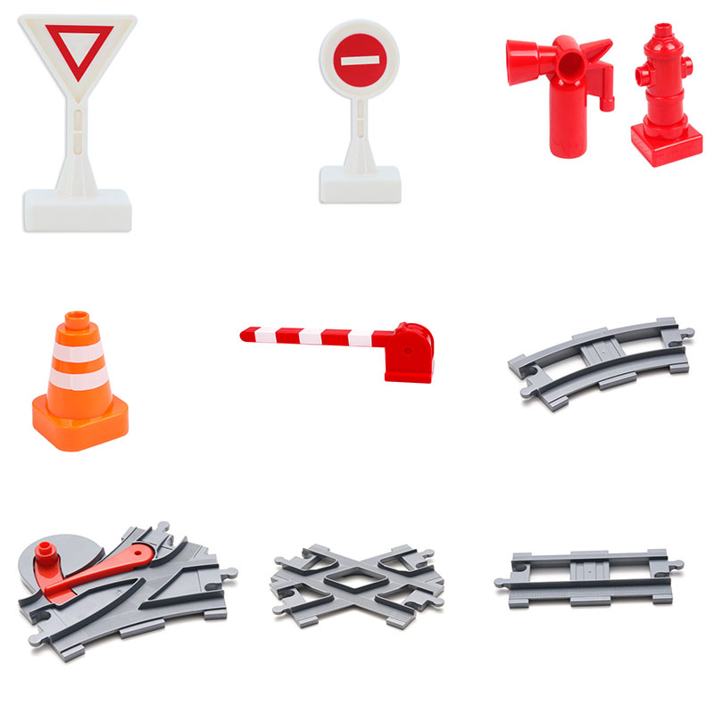 Duploed Block Bricks Train Tracks Accessories Traffic Lights Block Train Compatible With Dupled Building Kids  Educational Gift