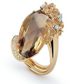 Trendy Princess Diana Kate Wedding Rings for Women Natural Royal Champagne Gold Stone Engagement Ring Boho Jewelry Female Ring