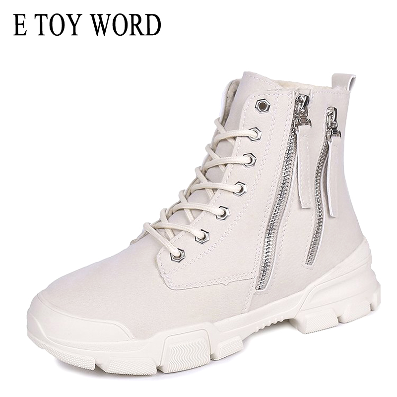 E TOY WORD Woman ankle snow Boots 2019 New Platform Winter Plush Warm Boots Lace Up thick shoes Martin boots Autumn Women Shoes in Ankle Boots from Shoes