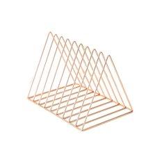 Nordic triangle simple wrought iron desktop storage rack shelf file magazine Bookend office Stationery Organizer Holder