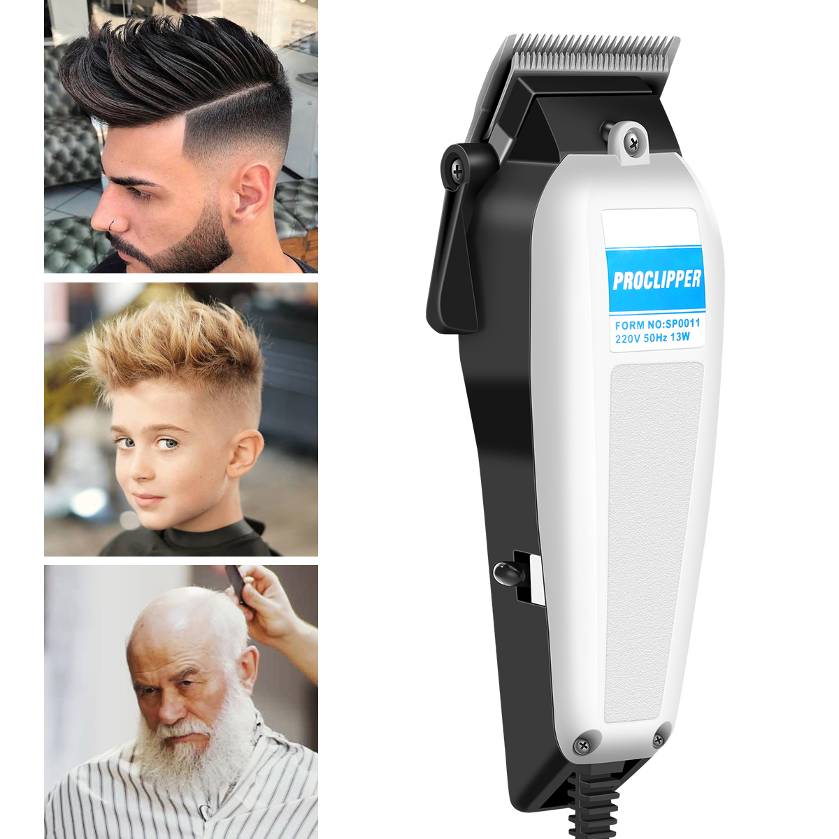 Men Hair Clipper Electric Hair Shavers Clipper Hair Trimmer Cutting Machine With Cleaning Brush And Guide Comb 14W 20V EU Plug
