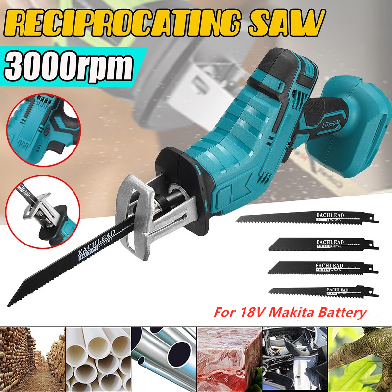 18V Cordless Rechargeable Electric Saber Saw Reciprocating Saw Adjustable Speed Electric Saw Saber Saw Portable Power Tools