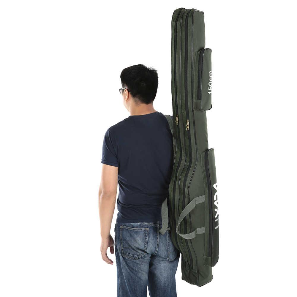 דיג תיק נייד מתקפל חכת דיג סליל תיק דיג מוט ציוד 100 cm/130 cm/150 cm נסיעות אחסון תיק