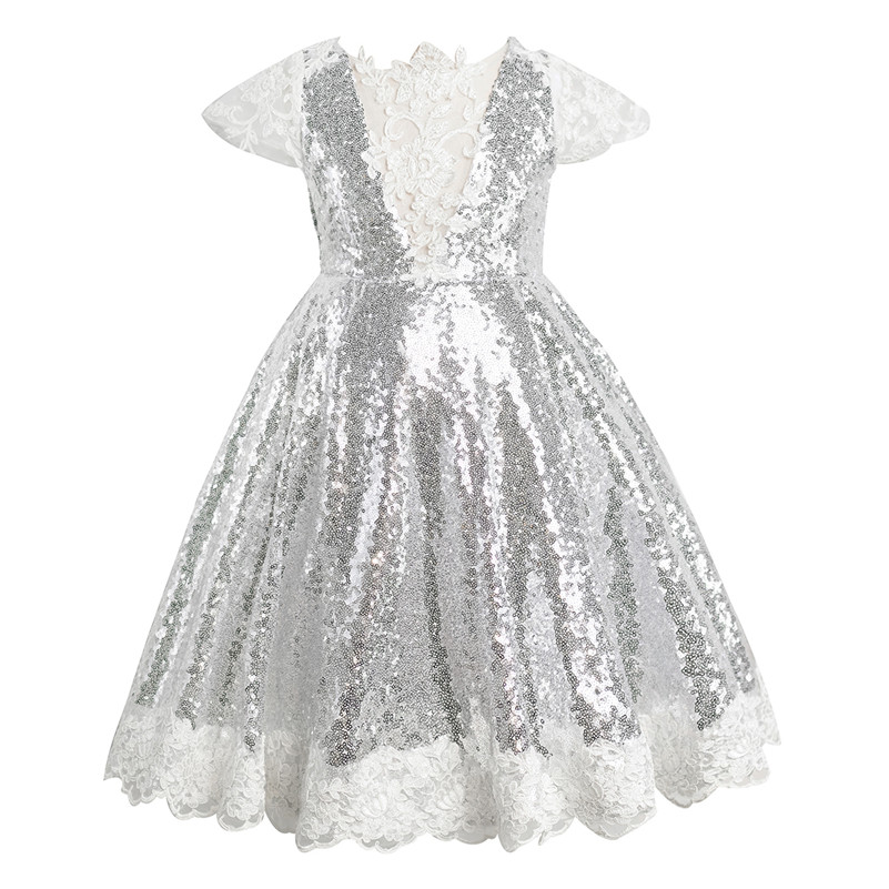 Silver Sequin Lace  Flower Girl Dress  Little Girls Wedding Party Dress