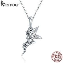 BAMOER-collar largo de Hada de las flores de plata de ley 100% auténtica, COLLAR COLGANTE de las mujeres, joyería de plata de ley 925 SCC359