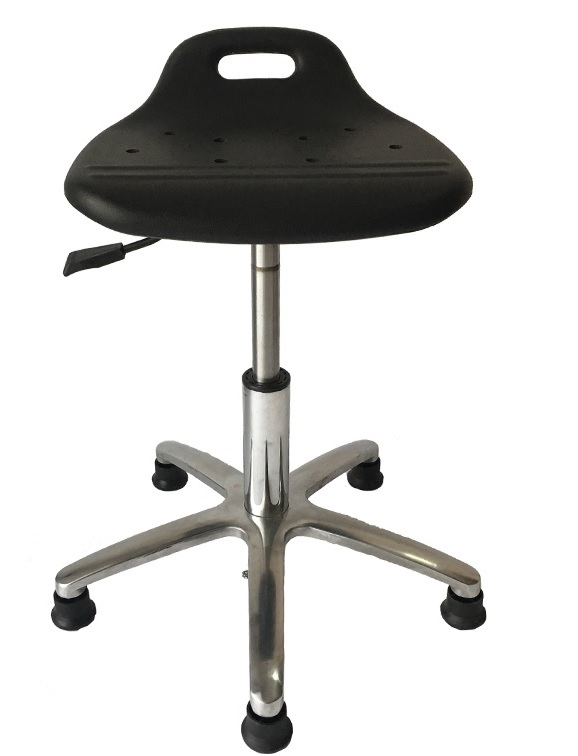 10pcs PACK, Polyurethane ESD Backless Pneumatic Stool With Aluminum Base / Adjustable Height 40-53cm / Glides Or Casters