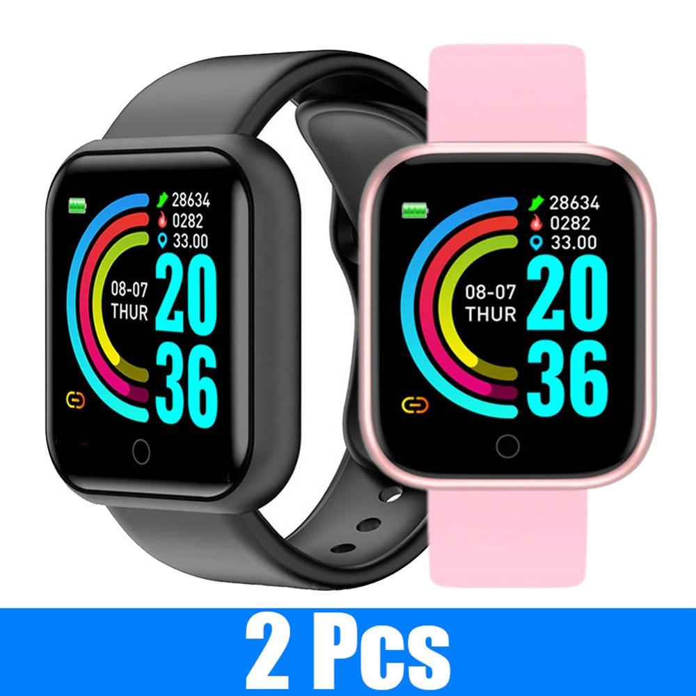 2 PCS Y68 Smart Watch Fitness Tracker smartwatch per la pressione sanguigna impermeabile cardiofrequenzimetro Bluetooth Smart orologio da polso 1